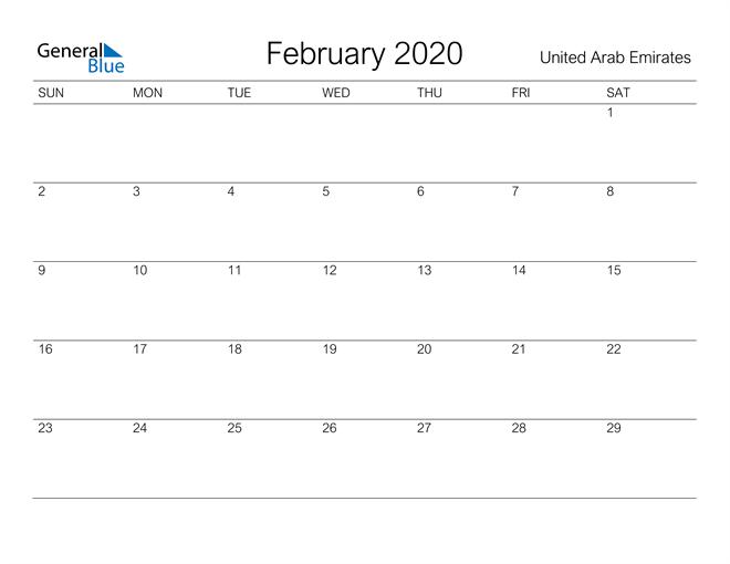 Printable February 2020 Calendar for United Arab Emirates
