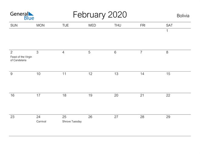 Printable February 2020 Calendar for Bolivia
