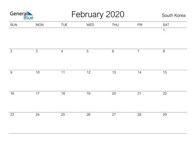 Image of February 2020 A Streamlined Design, The Perfect Printable Calendar. Calendar