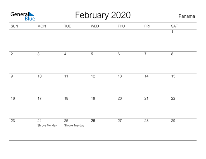 Image of February 2020 A Streamlined Design, The Perfect Printable Calendar. Calendar