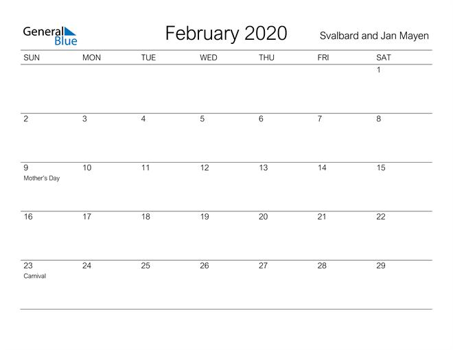 February 2020 A Streamlined Design, The Perfect Printable Calendar. Calendar