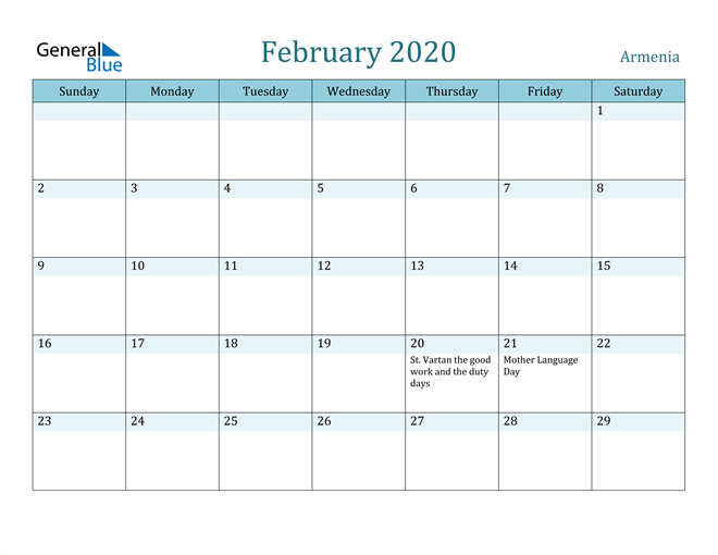 February 2020 Calendar with Holidays in PDF, Word, and Excel