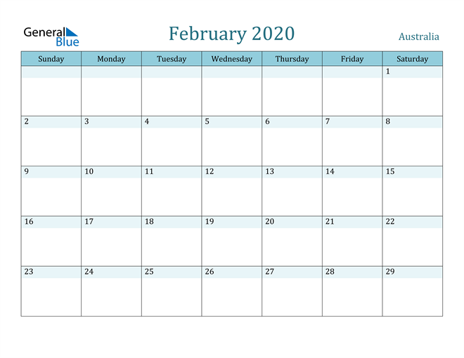 Image of February 2020 Colorful Turquoise Calendar in PDF, Word and Excel Calendar