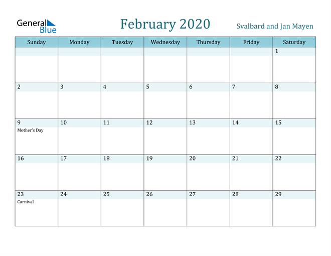 February 2020 Colorful Turquoise Calendar in PDF, Word and Excel Calendar