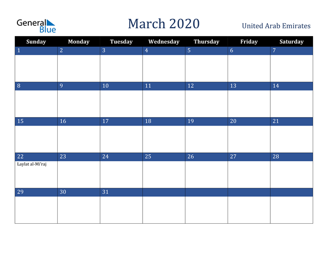 Image of March 2020 Stylish Dark Blue Calendar in PDF, Word and Excel Calendar