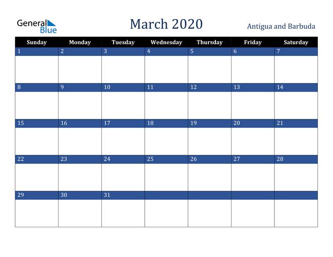 Image of March 2020 Stylish Dark Blue Calendar in PDF, Word and Excel Calendar
