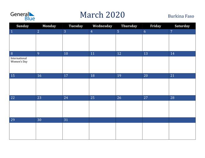 March 2020 Burkina Faso Calendar
