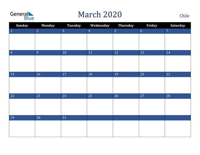 March 2020 Chile Calendar