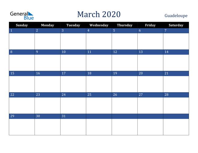 March 2020 Guadeloupe Calendar
