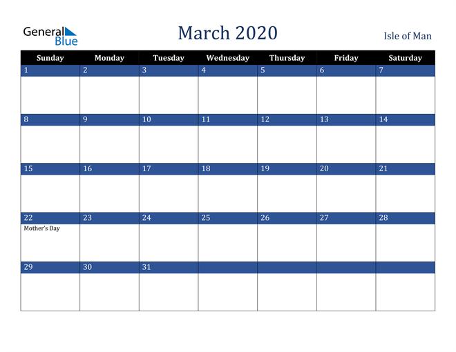 March 2020 Isle of Man Calendar