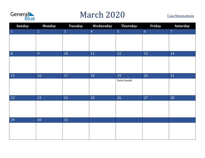 March 2020 Liechtenstein Calendar