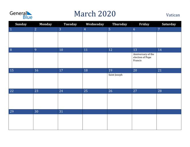 March 2020 Vatican Calendar
