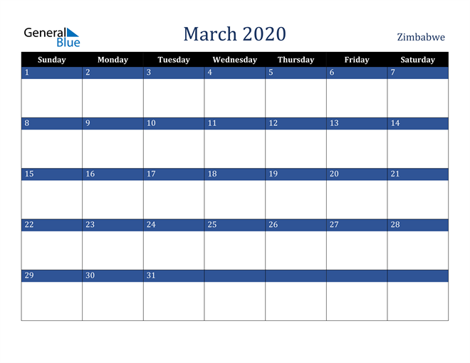 March 2020 Zimbabwe Calendar