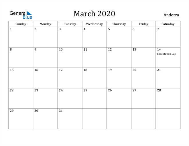 Image of March 2020 Andorra Calendar with Holidays Calendar