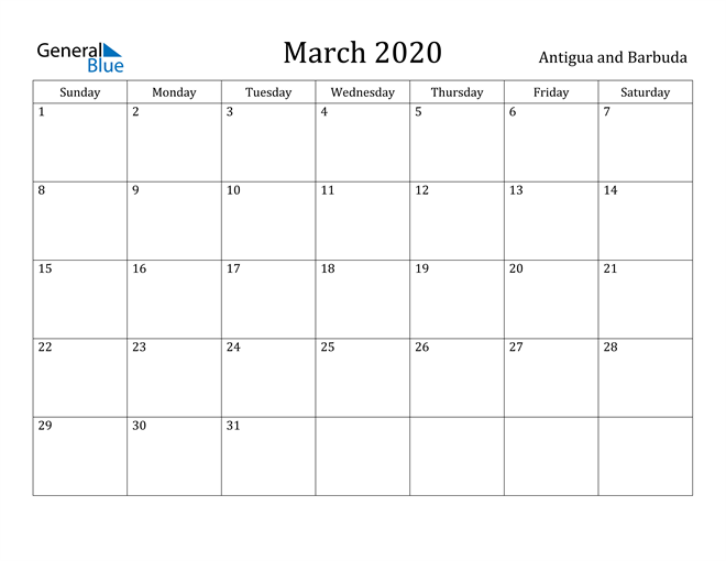 Image of March 2020 Antigua and Barbuda Calendar with Holidays Calendar