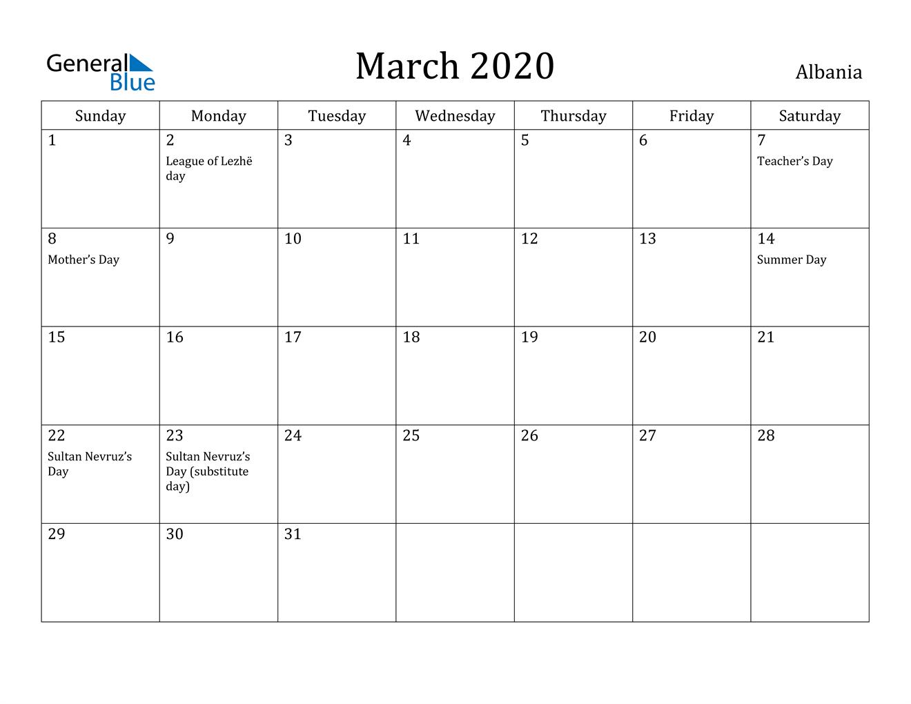 Image of March 2020 Albania Calendar with Holidays Calendar