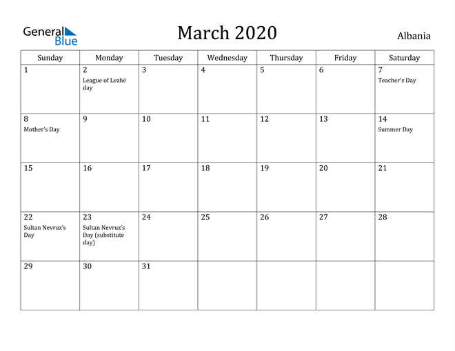 Image of March 2020 Albania Calendar with Holidays Calendar
