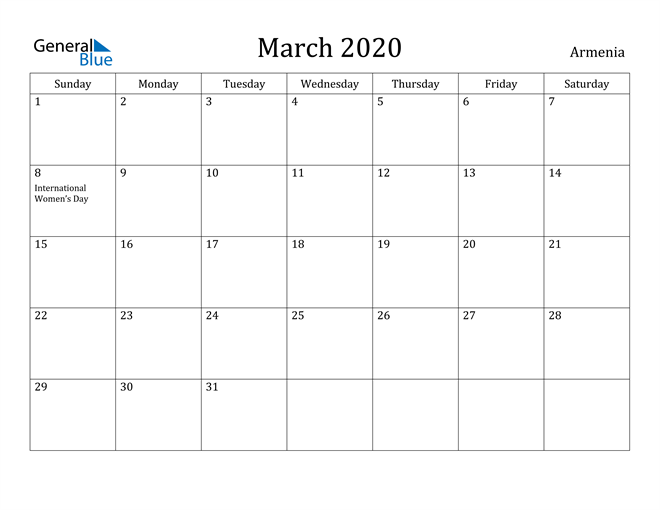 Image of March 2020 Armenia Calendar with Holidays Calendar