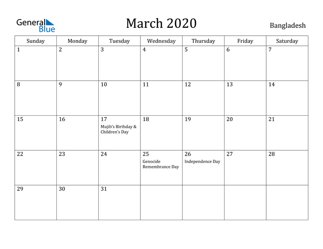 Image of March 2020 Bangladesh Calendar with Holidays Calendar