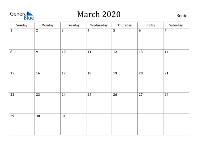 Image of March 2020 Benin Calendar with Holidays Calendar