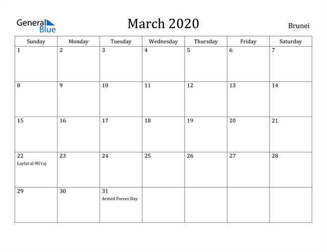 Image of March 2020 Brunei Calendar with Holidays Calendar