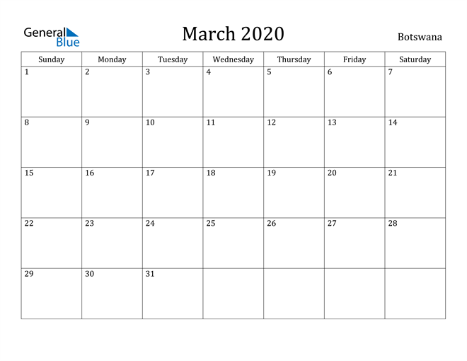Image of March 2020 Botswana Calendar with Holidays Calendar