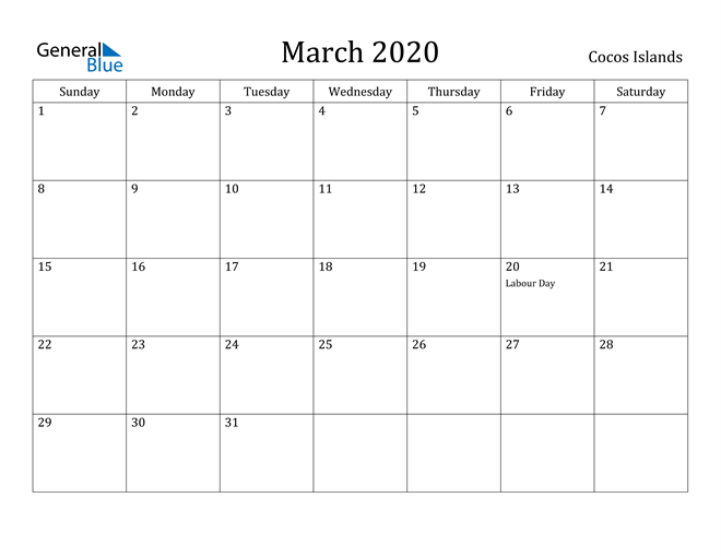 Image of March 2020 Cocos Islands Calendar with Holidays Calendar