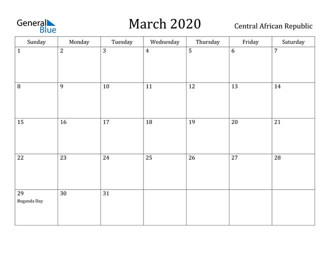 Image of March 2020 Central African Republic Calendar with Holidays Calendar