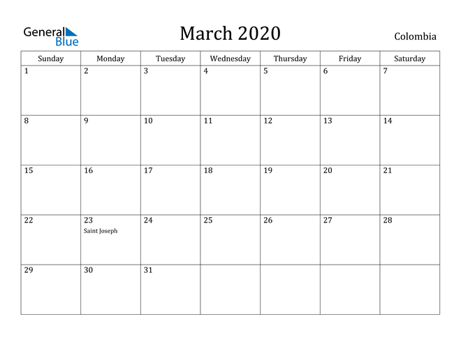 Image of March 2020 Colombia Calendar with Holidays Calendar