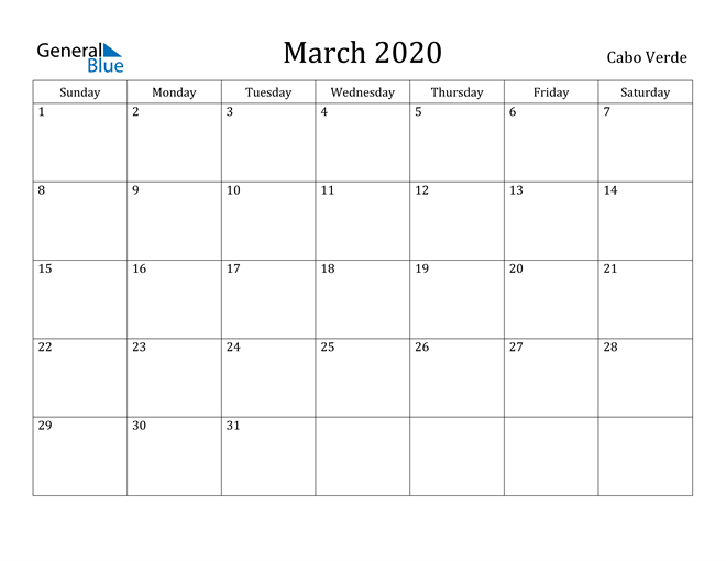 Image of March 2020 Cabo Verde Calendar with Holidays Calendar