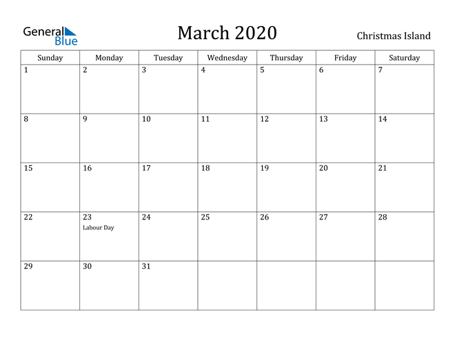 Image of March 2020 Christmas Island Calendar with Holidays Calendar