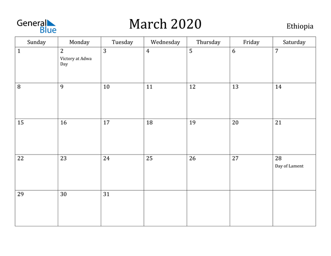 Image of March 2020 Ethiopia Calendar with Holidays Calendar