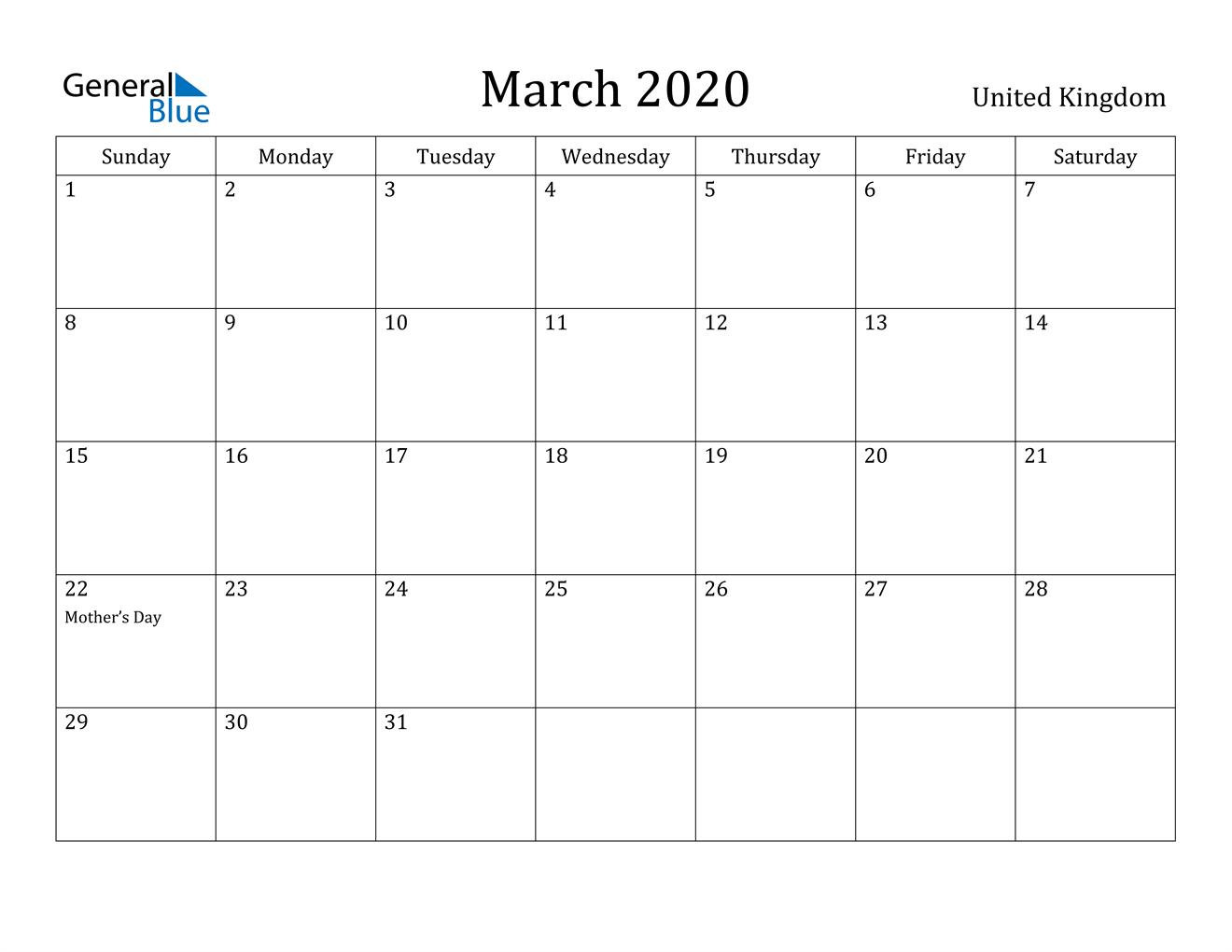 Image of March 2020 United Kingdom Calendar with Holidays Calendar