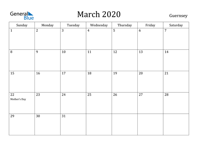 Image of March 2020 Guernsey Calendar with Holidays Calendar