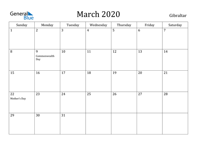 Image of March 2020 Gibraltar Calendar with Holidays Calendar