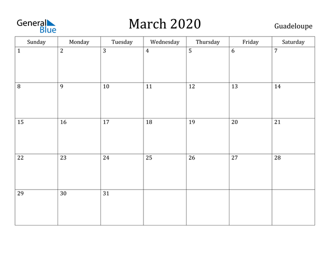 Image of March 2020 Guadeloupe Calendar with Holidays Calendar