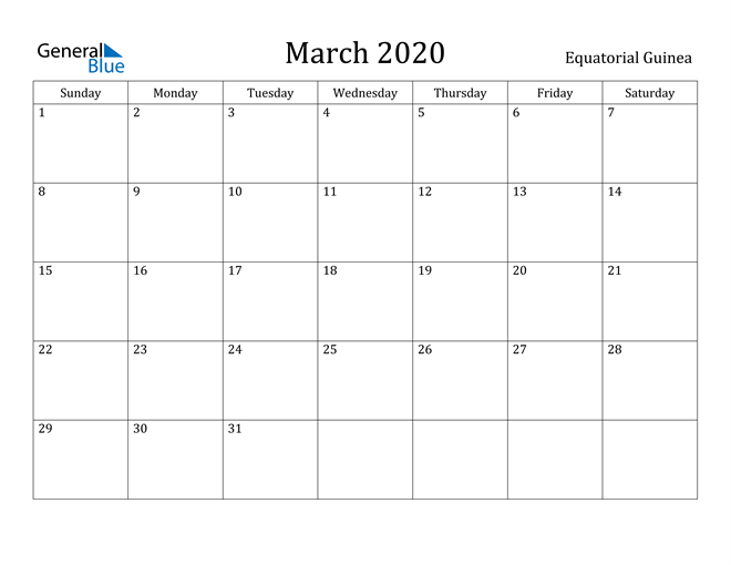 Image of March 2020 Equatorial Guinea Calendar with Holidays Calendar