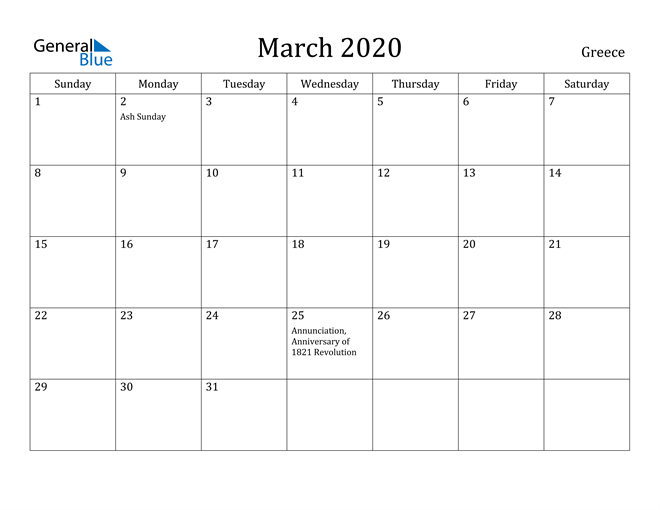 Image of March 2020 Greece Calendar with Holidays Calendar