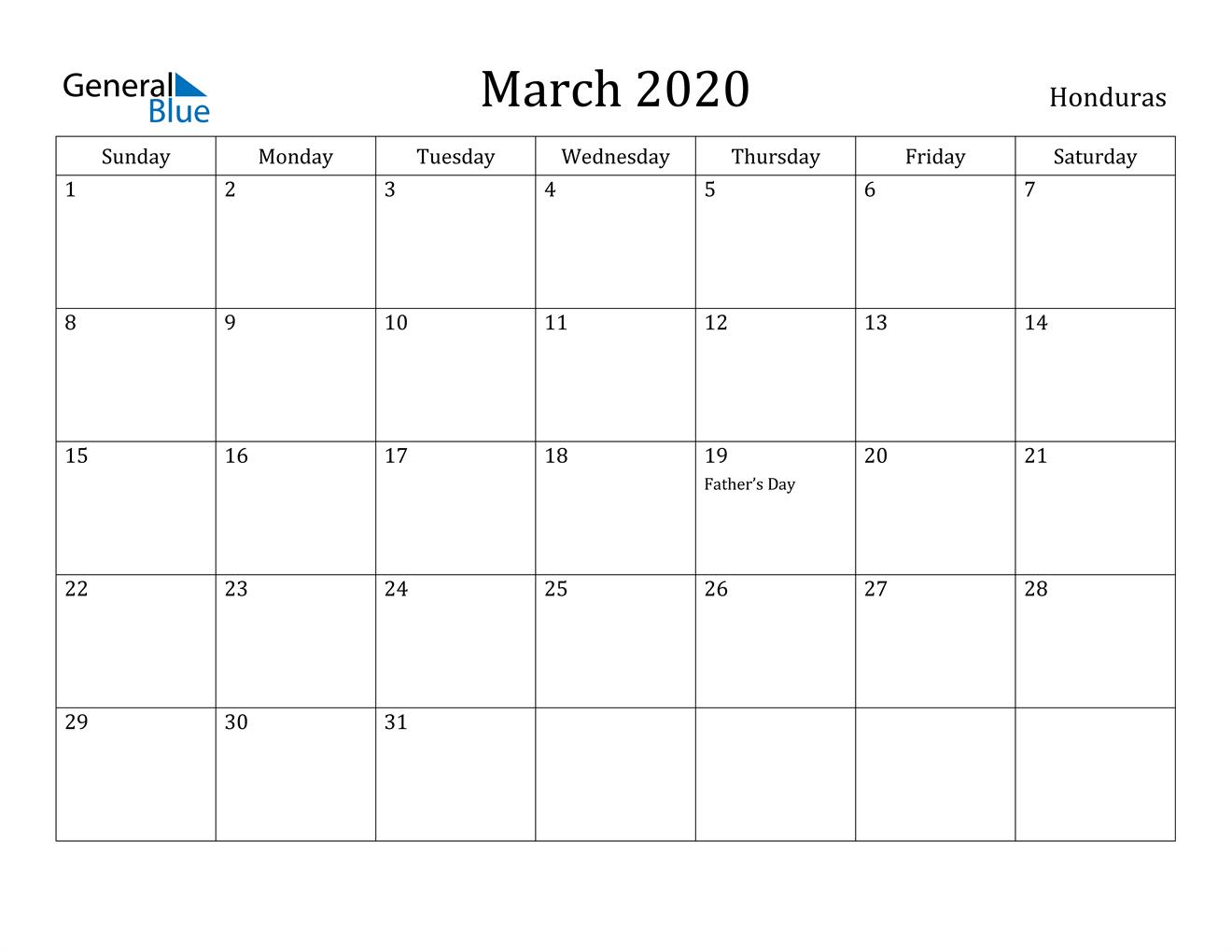 Image of March 2020 Honduras Calendar with Holidays Calendar
