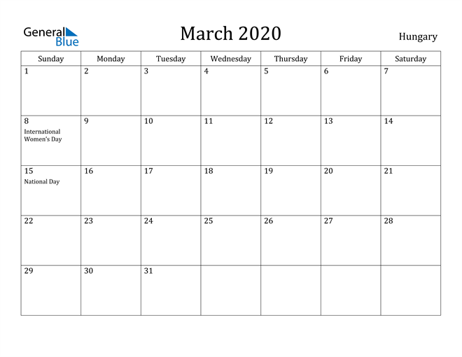Image of March 2020 Hungary Calendar with Holidays Calendar