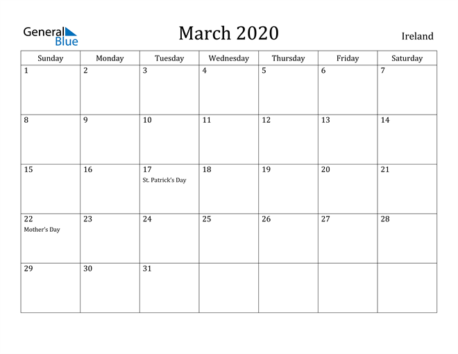 Image of March 2020 Ireland Calendar with Holidays Calendar