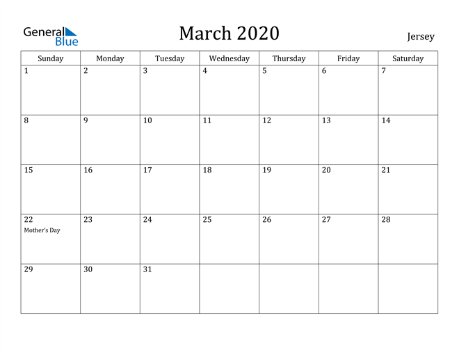 Image of March 2020 Jersey Calendar with Holidays Calendar