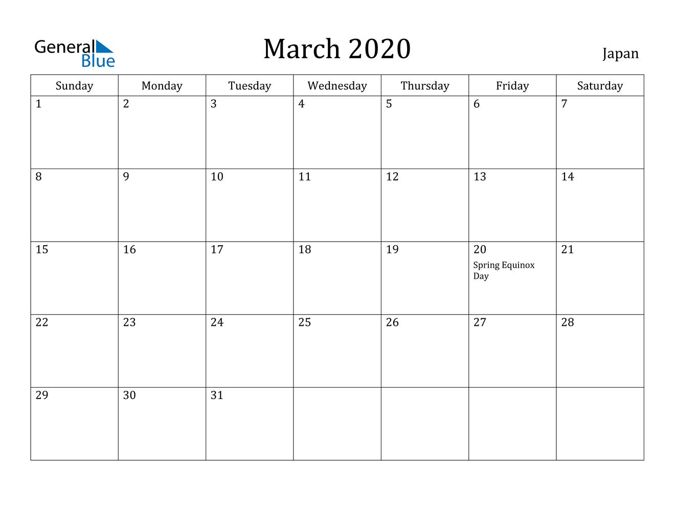 Image of March 2020 Japan Calendar with Holidays Calendar