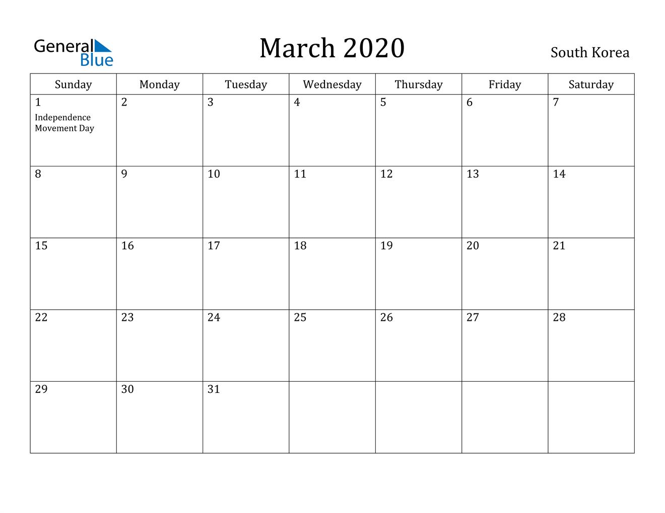 Image of March 2020 South Korea Calendar with Holidays Calendar