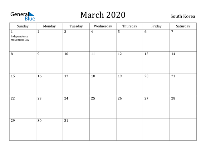Image of March 2020 South Korea Calendar with Holidays Calendar