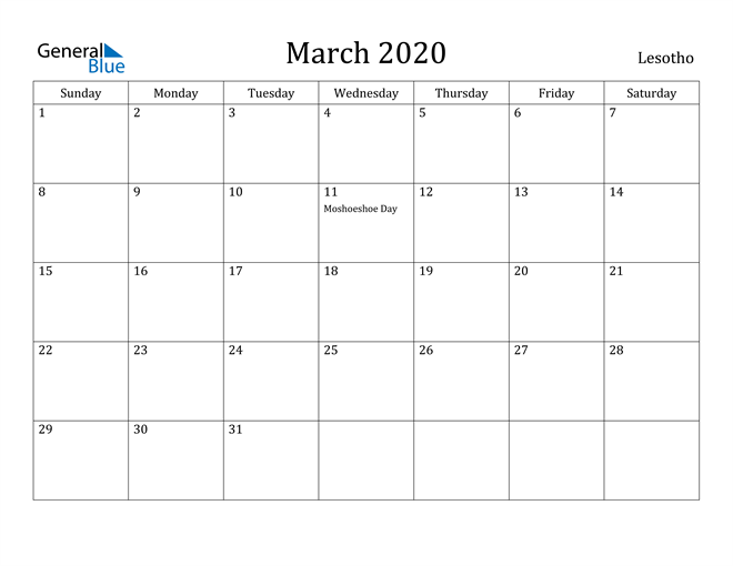 Image of March 2020 Lesotho Calendar with Holidays Calendar