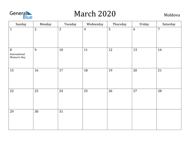 Image of March 2020 Moldova Calendar with Holidays Calendar