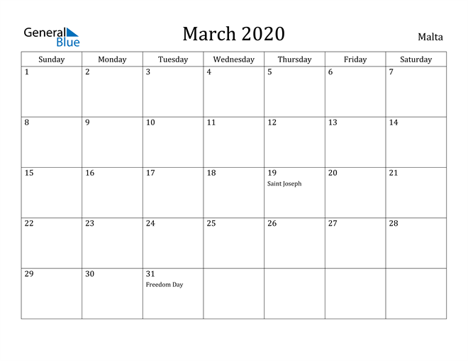 Image of March 2020 Malta Calendar with Holidays Calendar