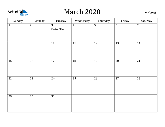Image of March 2020 Malawi Calendar with Holidays Calendar