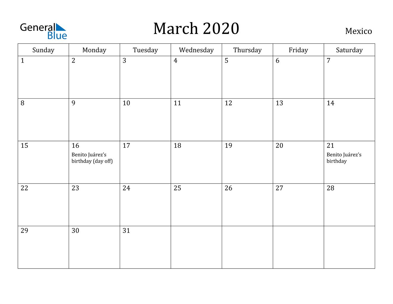 Image of March 2020 Mexico Calendar with Holidays Calendar